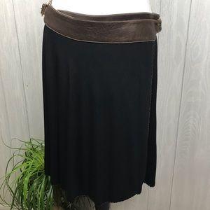 Akiko leather adjustable waist black wrap skirt